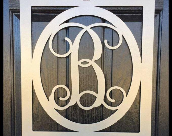 Framed Monogram Door Hanger, Door Wreath, Front Door Initial, Personalized Gift,-  FRAOVL221