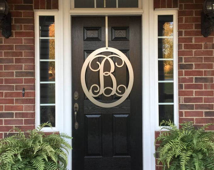 "30"" or 36"" Large Monogram Metal Letter Door  Wreath, Sign, Outdoor, Decor,"