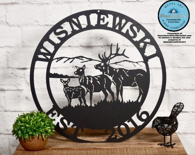 Personalized Elk Deer Hunter Sign- Established Last Name Family Sign | Gift for Him | Christmas Gift | Metal Hunting Cabin Sign |