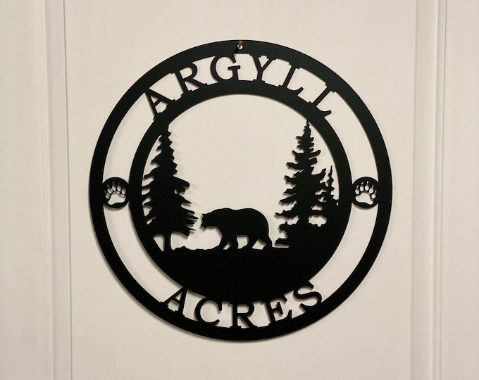 Personalized Bear Custom Metal Sign, Outdoor Sign, Rustic Sign, Custom Bear Art, Custom Cabin Sign, Custom Homestead Sign, Welcome Sign