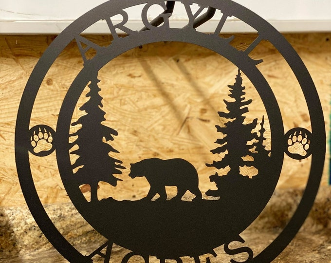 Personalized Bear Custom Metal Sign, Outdoor Sign, Rustic Sign, Custom Bear Art, Custom Cabin Sign, Custom Homestead Sign, Welcome Sign