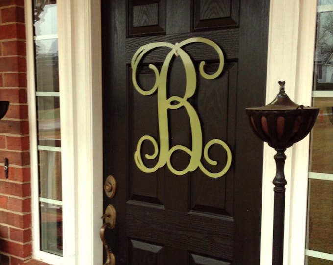 Monogram Door Hanger, Summer door wreath, large metal letters, metal monogram door hanger, gift, initial front door, outdoor wreaths- 24""
