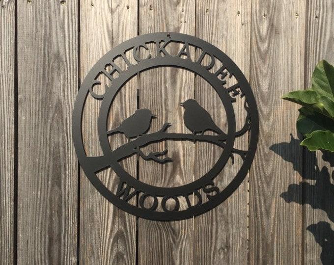 Chickadee Bird Personalized Metal Door Hanger | Bird Lover Yard or Garden Sign | Weatherproof Outdoor Welcome Sign