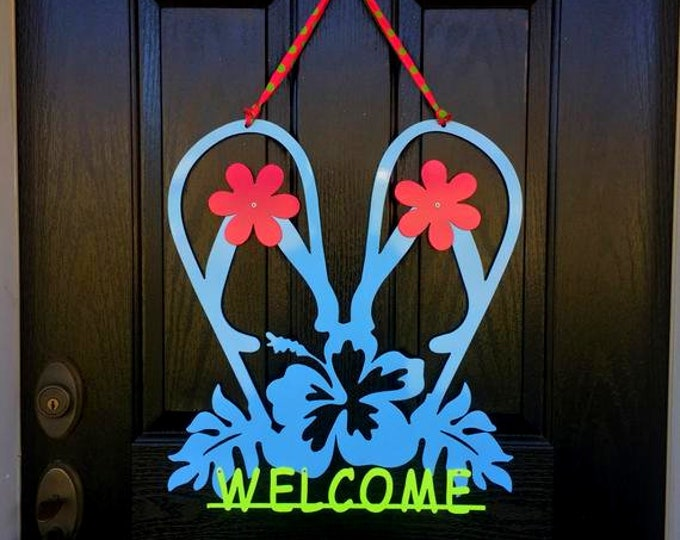 Flip Flops Summer/ Spring Wreath - Metal Welcome Sign, Front Door Wreaths