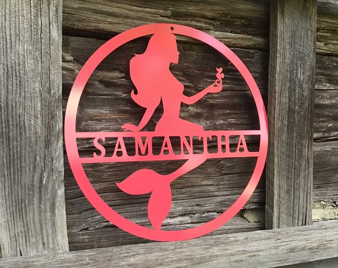 Mermaid Name Sign | Personalized Mermaid Nursery Sign for Little Girls | Girl's Name Sign | Custom Metal Sign