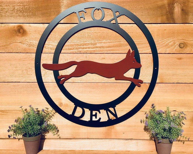 Two Color Fox Metal Sign, Ranch Sign, Personalized Metal Sign, Outdoor Weatherproof Sign, Farm Sign,