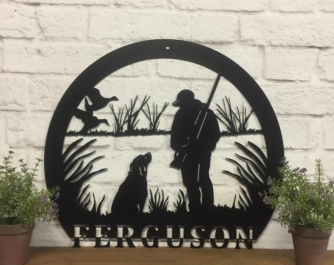 Personalized Hunter and Lab sign, Duck sign, Lab sign, Gift for Dad, Father's Day Gift, Unique Gift for Dads,  Copyrighted design of HSA