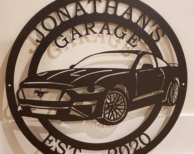 Personalized Ford Mustang Sign | Custom Metal Sign| Custom Metal Sign| Car Wall Decor | Man Cave Decor | Garage Sign |