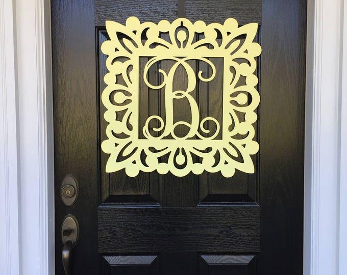 Floral Metal Monogram Door Hanger, Metal door wreath, Personalized Gift, Front Door Wreaths, Monogram Wreath, Spring Door Hanger