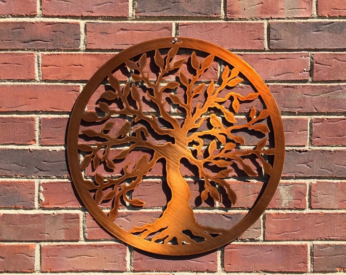 "Tree of Life w/birds,  Wall Decor, - 12"", 18"", 24"", 30"" or 36"" Metal Wall Art,Tree Art, Garden Art, Front Door Wreath, Mothers Day Gift"