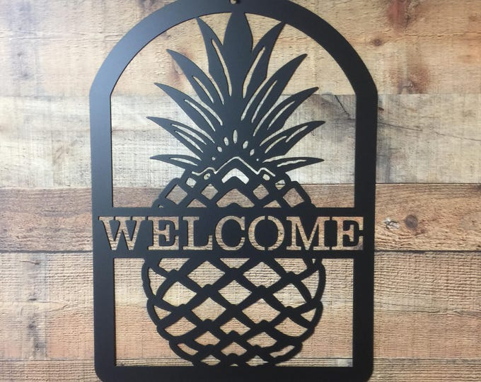 Pineapple Welcome Sign, Hospitality Sign, Entrance Sign, Front Door Wreath, WELCOME   #HSAWS1001