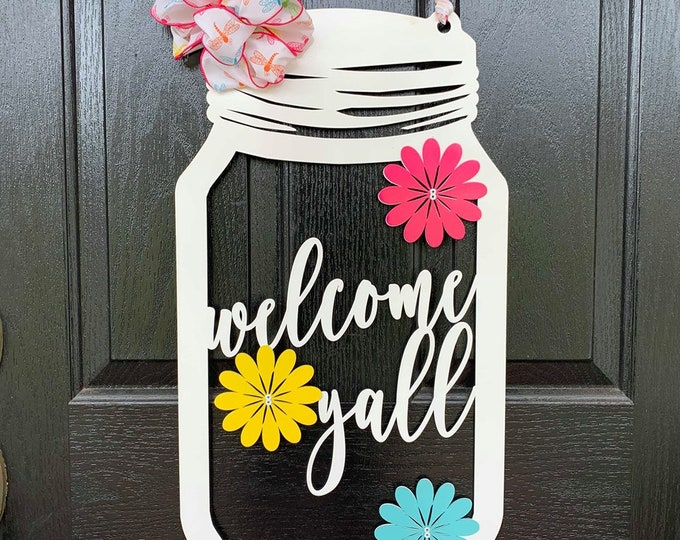 Metal Mason Jar Spring Wreath with Firefly Ribbon & Bow  | Welcome Sign | Front Door Wreaths | Summer Door Wreath