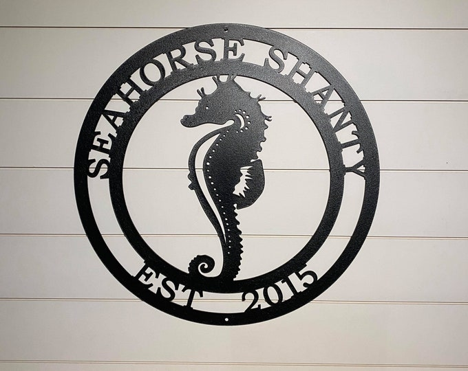 Seahorse Beach Sign | Personalized Lake House Sign | Custom Metal Sign