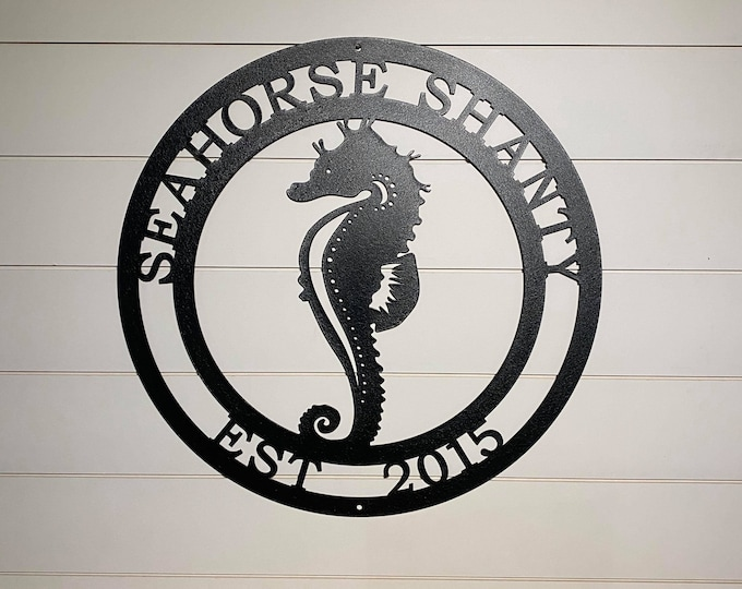 Seahorse Marine Life Sign | Coastal Decor | Nautical Wall Art | Ocean and Sea Animal Decor | Custom Metal Sign | Personalized Seahorse