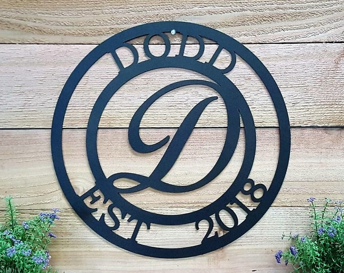 Script Family Name Sign | Custom Metal Sign | Wedding Gift| Personalized