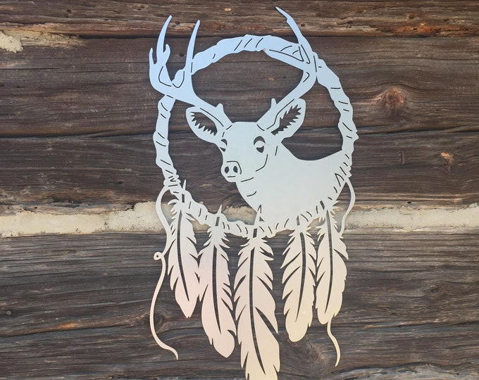 Metal Dreamcatcher Boho Sign | EAGLE, BEAR, DEER | Boho Decor Tribal Feather Custom Sign | Large Dream Catchers 2 Ft Tall