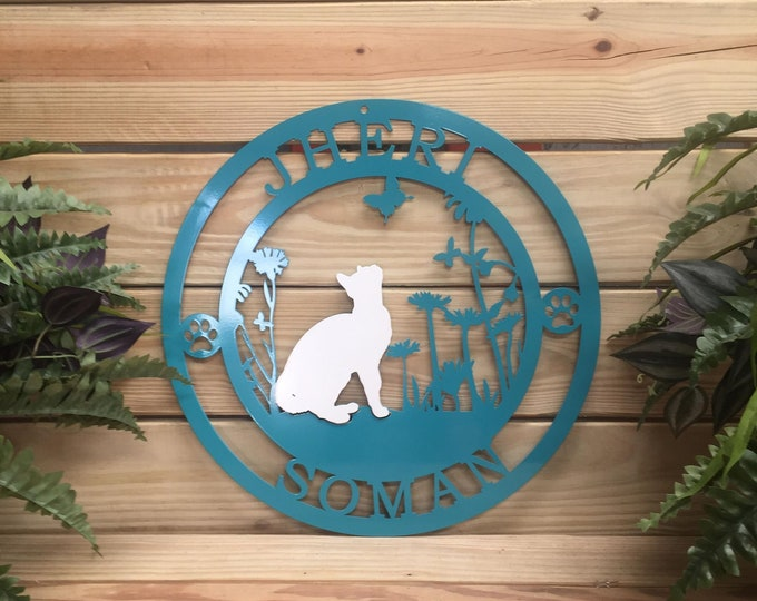 Personalized Cat Lover Sign,  Cat Metal Family Sign, Rustic Woodland Cabin Welcome Sign, Cabin Sign, Farm Sign, Weatherproof Sign,