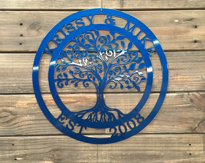 Loving Tree of life Personalized Decor | Metal Wall Decor| Custom Metal Sign