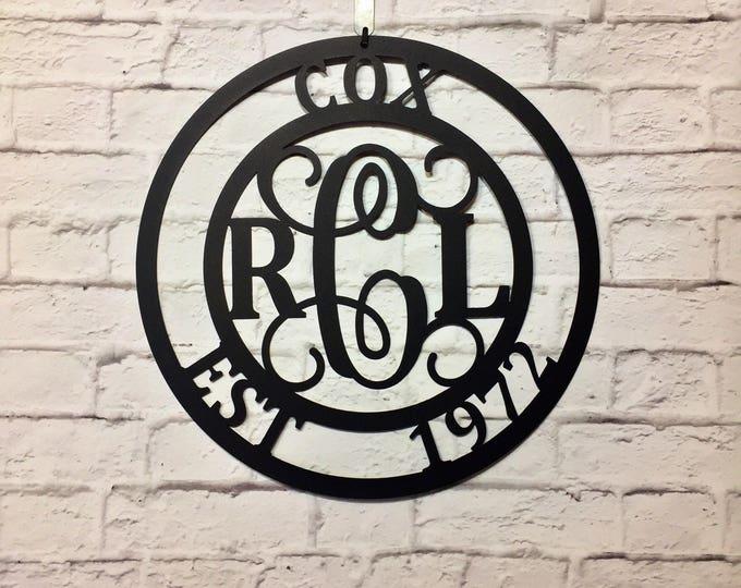 3 Letter Monogram & Family Name Sign - Initial Door Hanger, Front door wreaths, Last Name sign, Outdoor, Sign