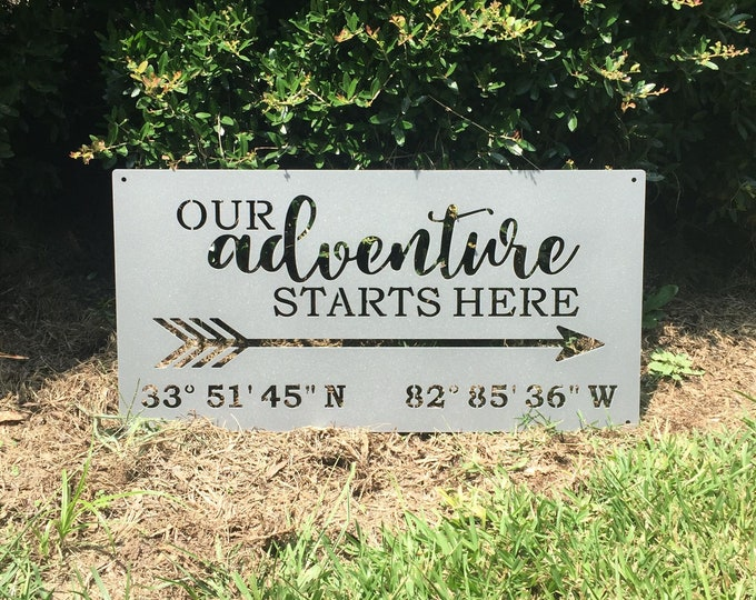 Our Adventure Starts Here GPS Coordinates Custom Metal Sign | Adventure Sign with Custom Coordinates | Boho Decor |Personalized Wedding Sign