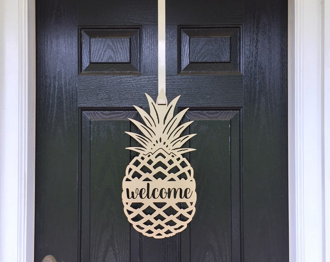 Welcome Pineapple, Front Door Wreath, Front Door Decor, Pineapple Decor, Door Hangers, Elegant Door Wreath, Door Decorations, outdoor wreath