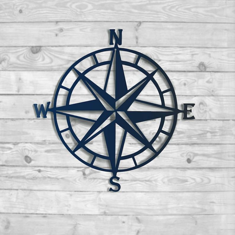 Nautical Compass Rose Metal Wall Decor 100 Color Choices Outdoor Metal Art Metal Wall Art Beach House Decor Nursery Decor Lake House