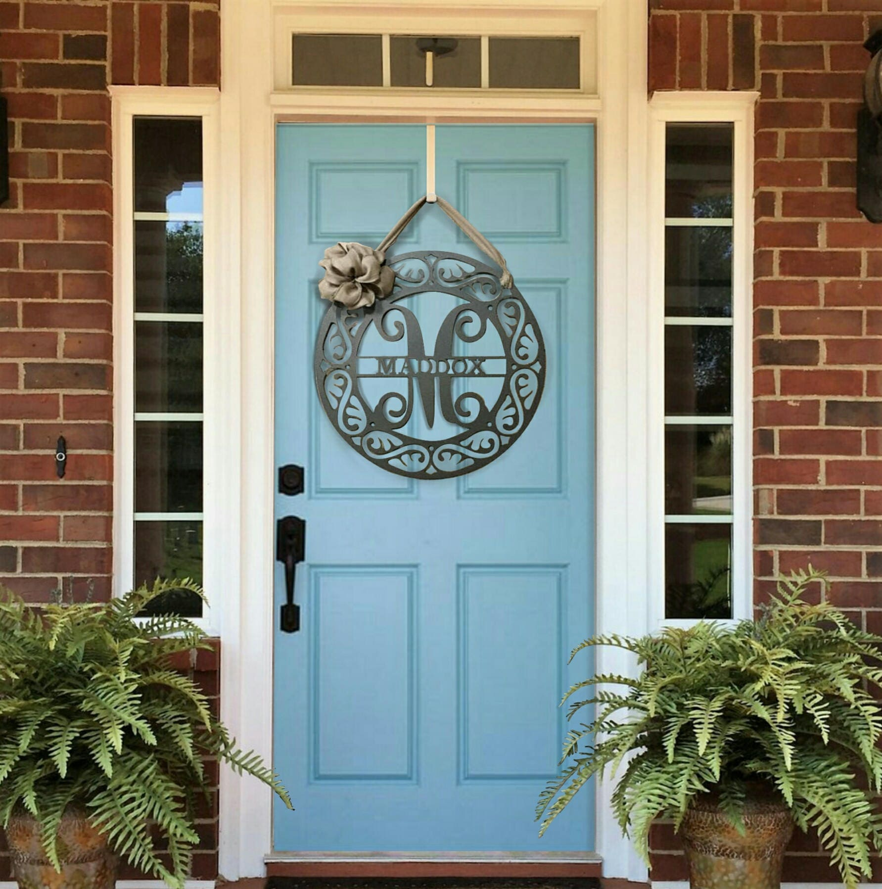 Monogram Front Door Decoration: Fancy Schmancy: Monogram Front Door Wreath With Ribbon
