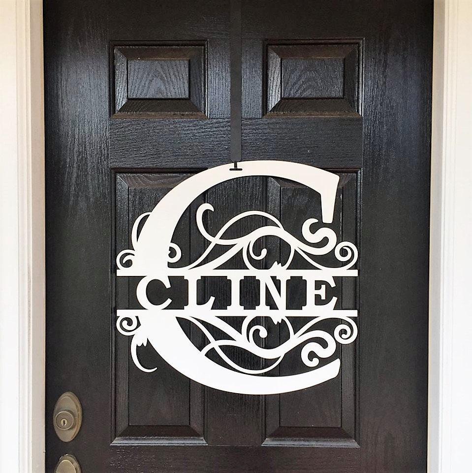 Modern Door Wreath | Last Name Sign | Monogram Door Sign | Initial Door  Hanger