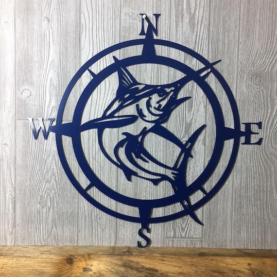 Metal Marlin Compasswall Art Nautical Metal Wall Art Etsy