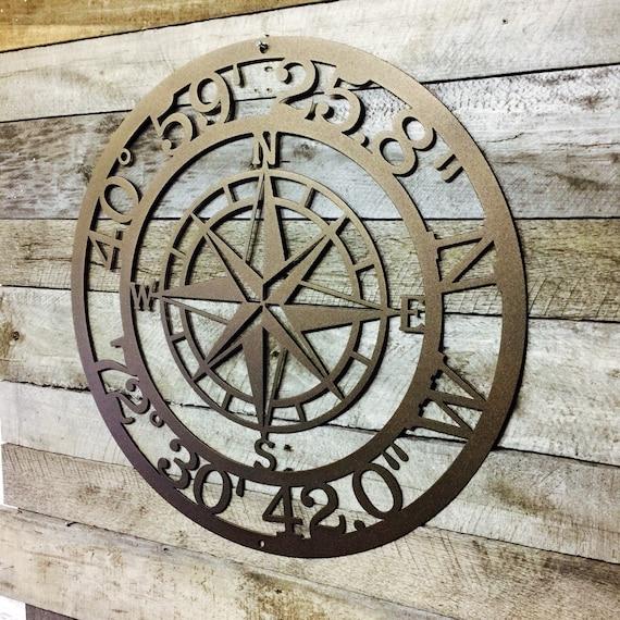 Personnalisé Compass Rose Metal Sign-Custom coordonnées-Nautique adresse Wal