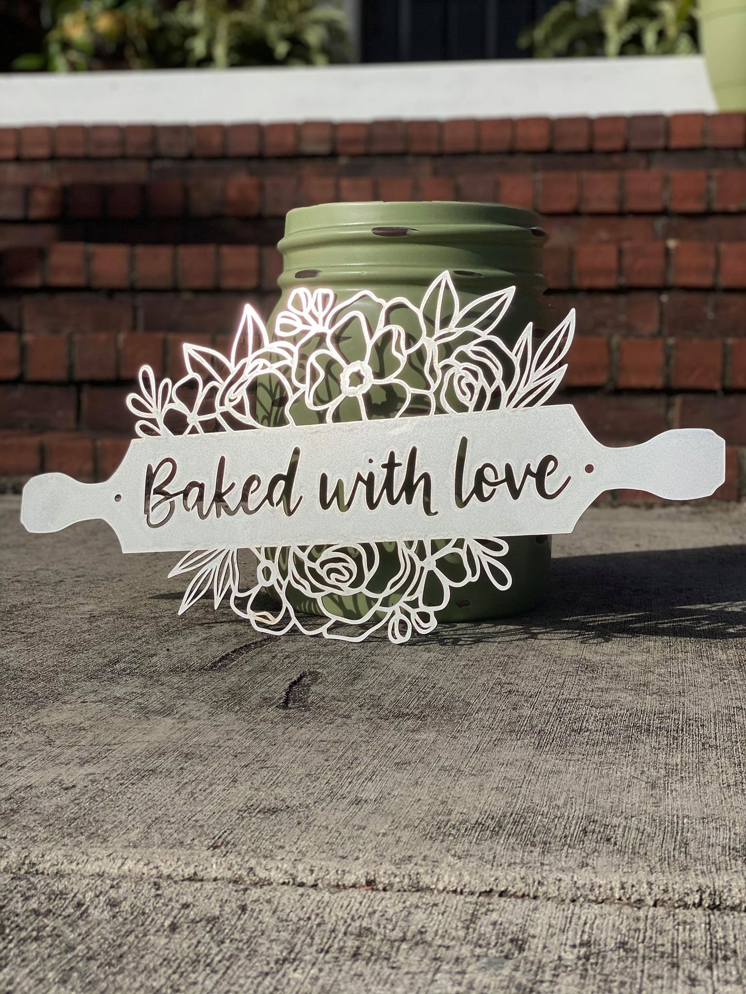 Baked With Love Kitchen Wall Art Personalized Metal