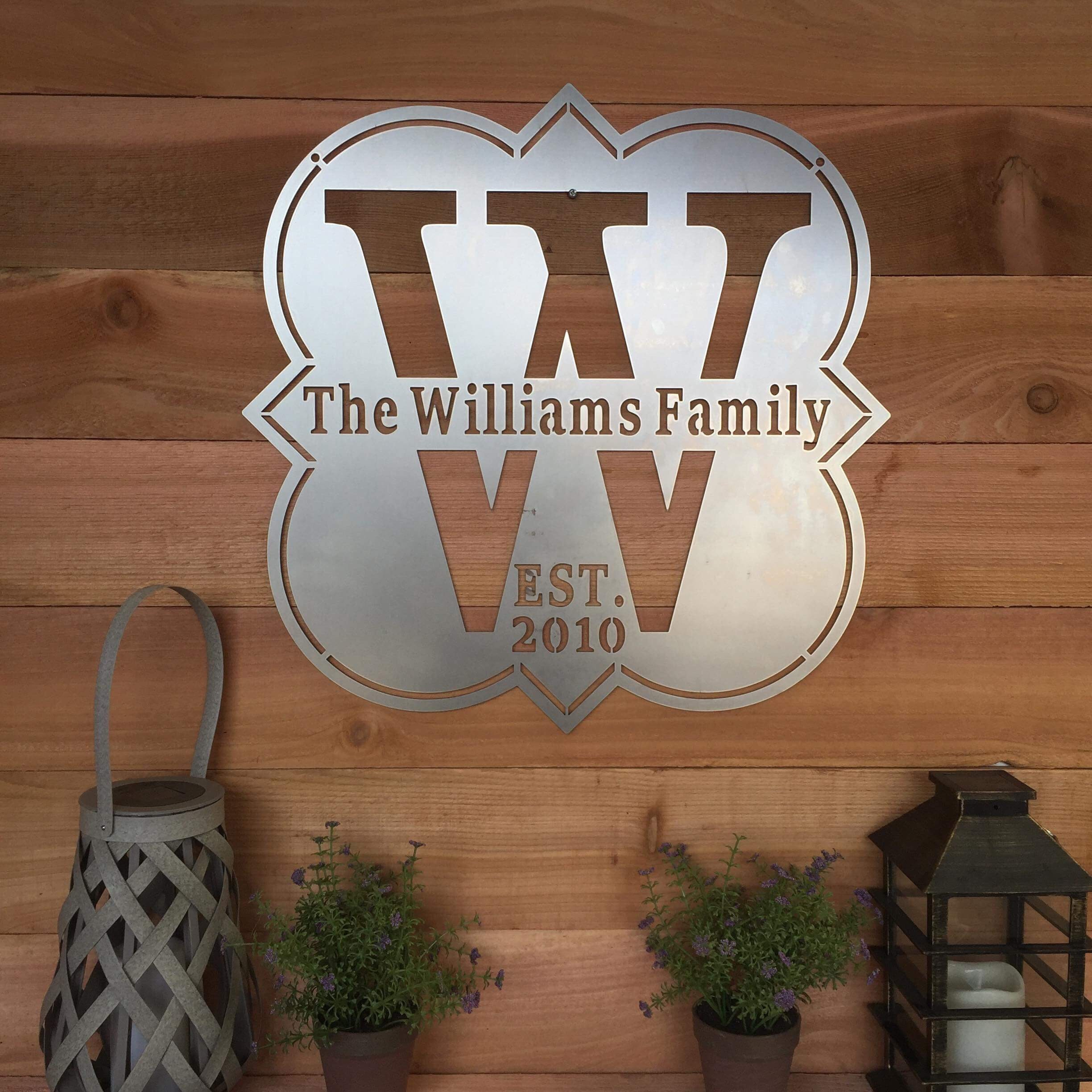 Custom Family Established Sign Modern Farmhouse Metal Wall Art