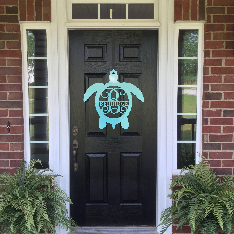 Metal Turtle Front Door Wreath/Monogram Door Hanger/Beach Decor/ Porch Decor/monogram  Door Hanger, Metal Wall Art/Metal Sign/ Name Sign/
