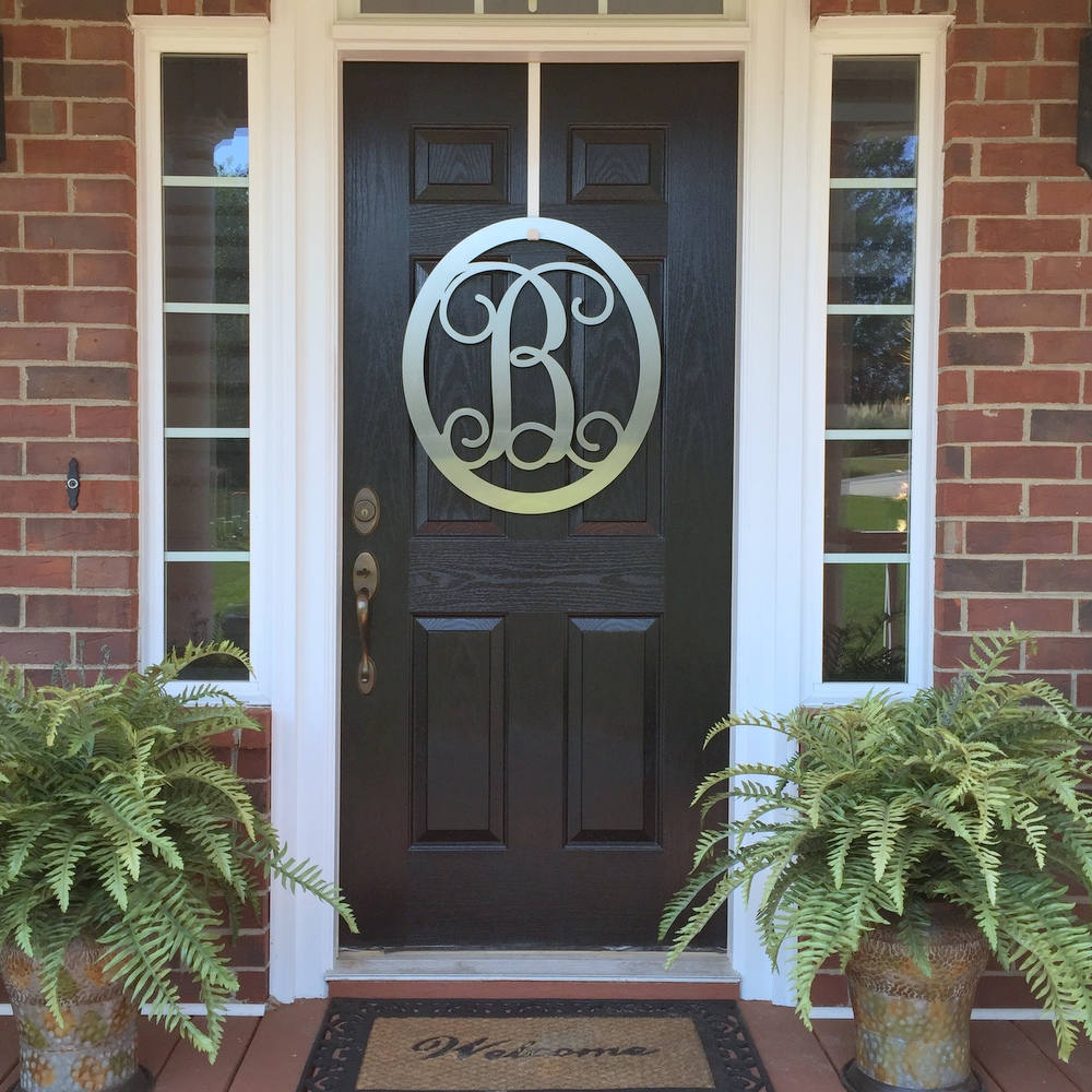 Monogram Front Door Decoration: 24 Oval Monogram Door Wreath By HSA, Monogram Door Hanger