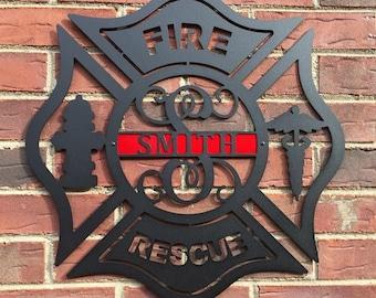 Personalized Metal Maltese Cross Sign, Firefighter gift, Monogram Door Hanger, Firefighter gift, Copyrighted Design of HSA