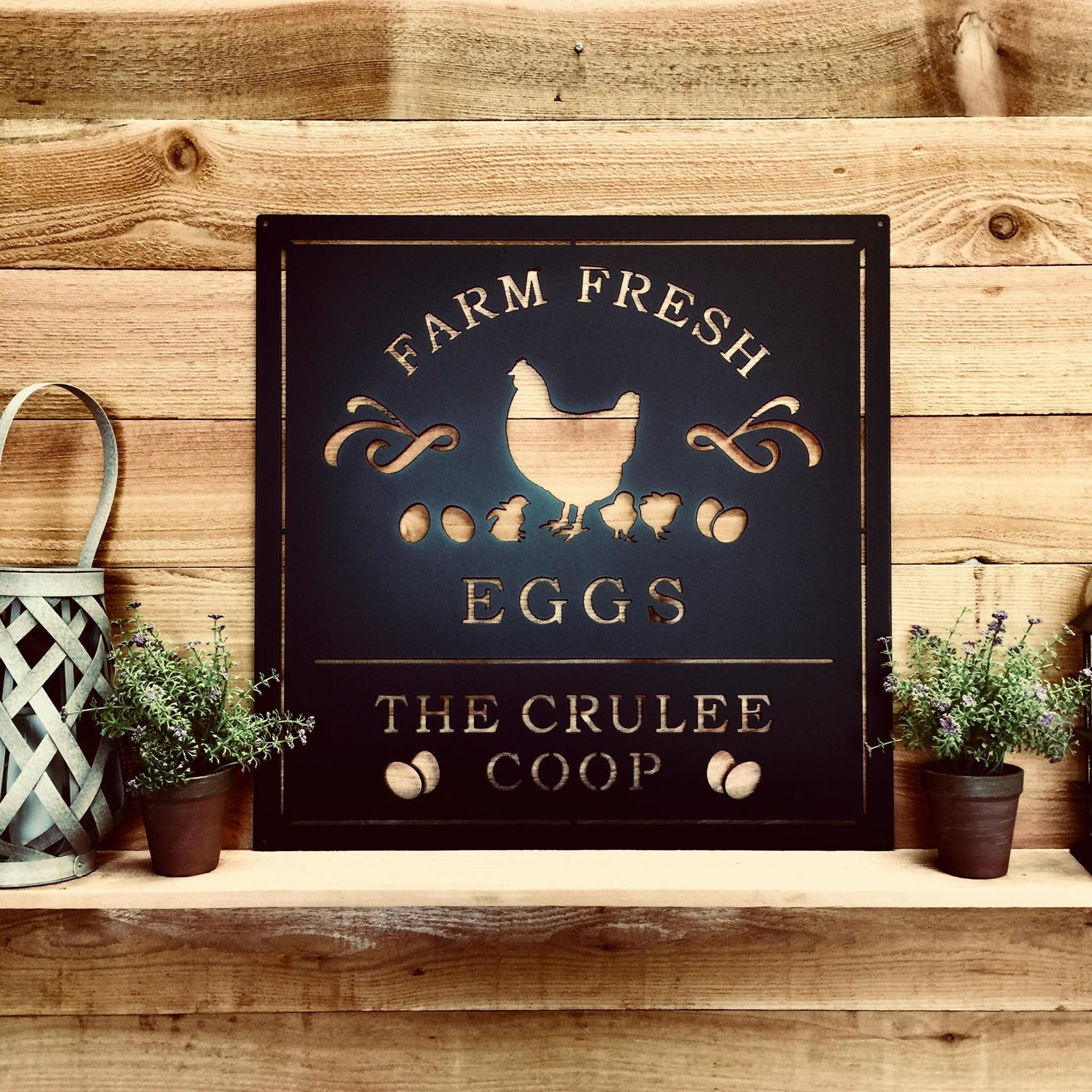 Personalized Chicken Coop Sign, Modern Farmhouse Kitchen Farm Fresh Eggs  Sign, Personalized Metal Farmhouse Sign, Rustic Country Farm Sign