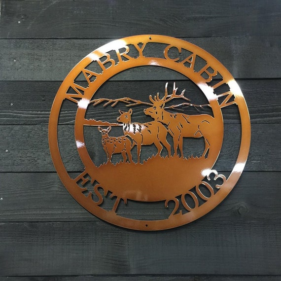 Cabin Sign Personalized Three Deer Sign Copyrighted design of HSA Custom Metal Sign gifts for the hunter