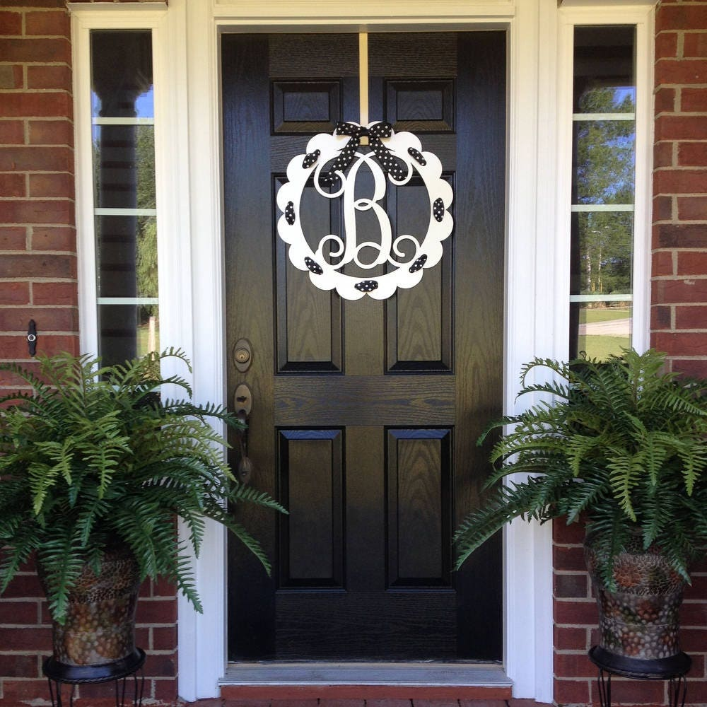 Monogram Door Wreath, Front Door Monogram, Front Door Wreaths, Monogram  Wreath, Initial Wreath,