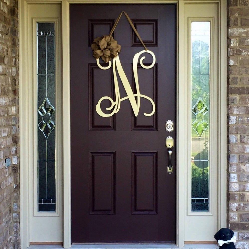 Metal Initial Door Wreath W Ribbon Front Door Wreaths Etsy