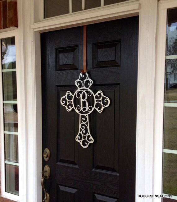 Superbe Metal Cross Front Door Wreaths Monogram Door Hanger Initial | Etsy
