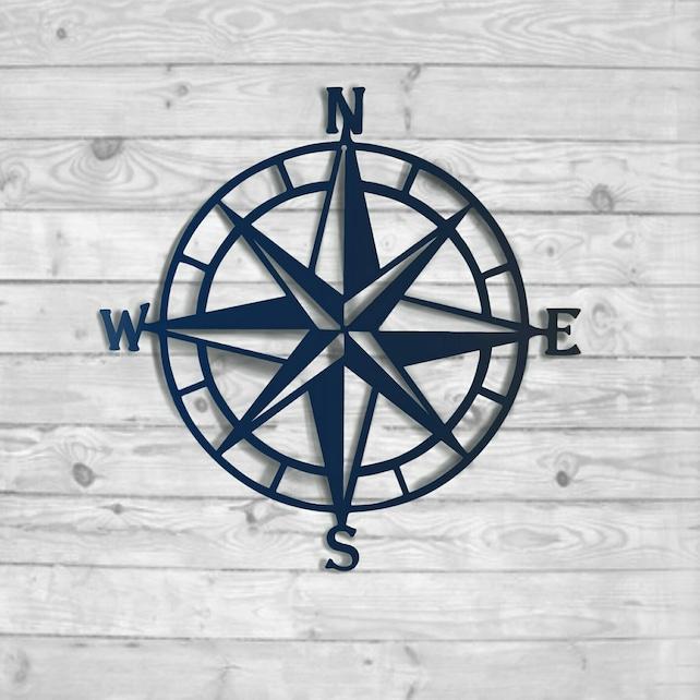 Compass Rose Metal Wall Art Nautical Compass Nautical Wall | Etsy