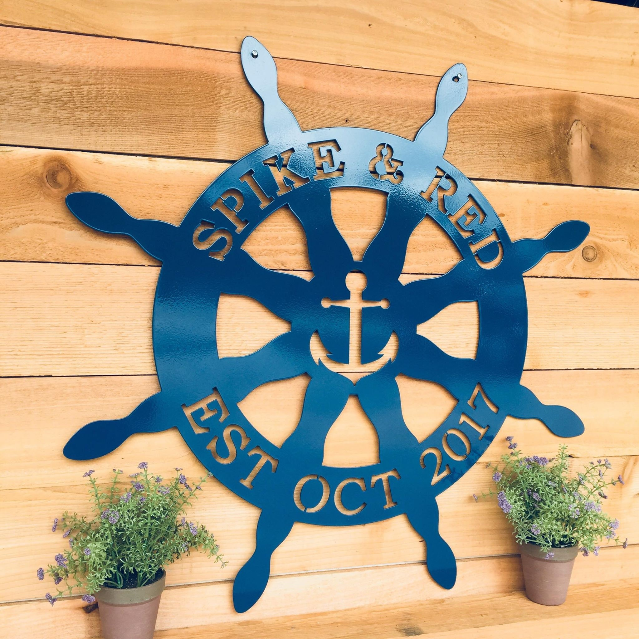 Captainu0027s Wheel Outdoor Metal Front Door Sign, Weatherproof Front Porch  Wreath For Beach, Vacation Home Lake House Sign, Nautical Decor