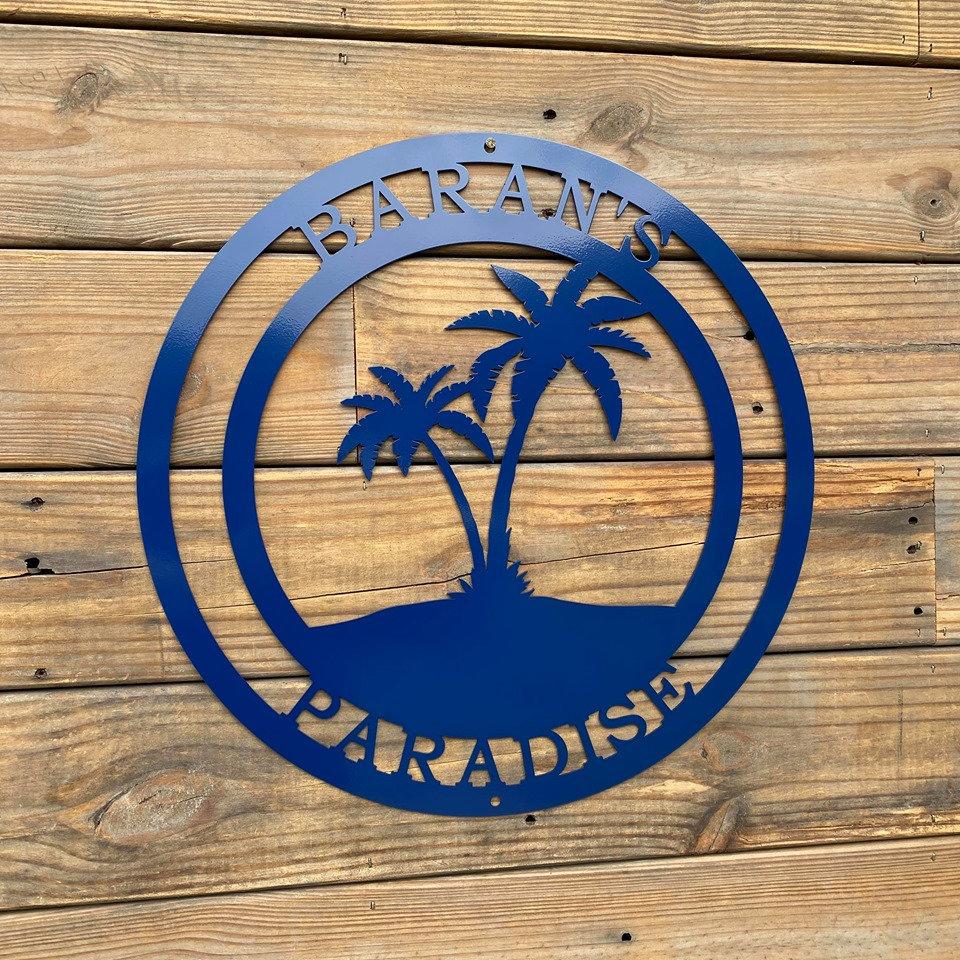 Beach Palm Tree Personalized Metal Sign - Coastal Wall Art ...