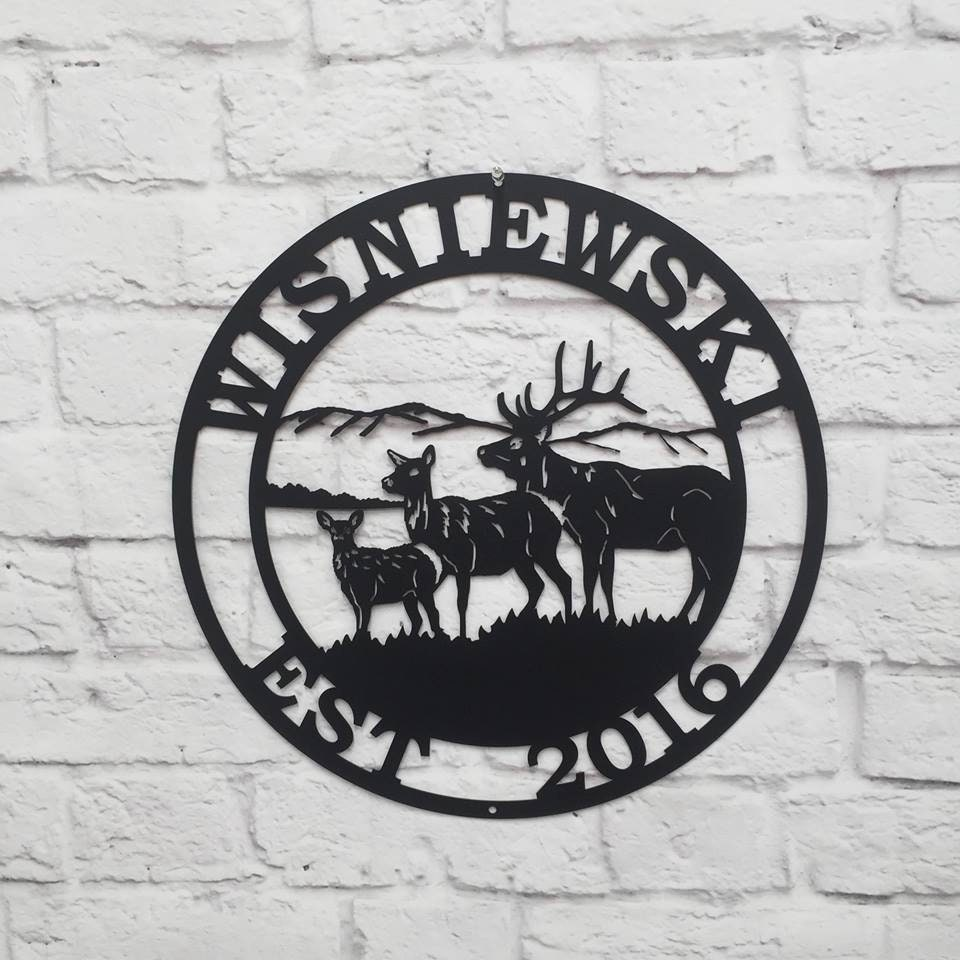Personalized Elk Deer Hunter Sign- Established Last Name Family Sign ...