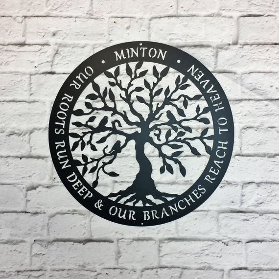 Personalized Family Name Tree of Life with Quote of your Choice Inspirational Saying Metal Wall Art
