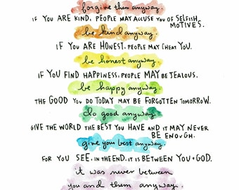 Instant Download Do It Anyway Printable Mother Theresa Poem
