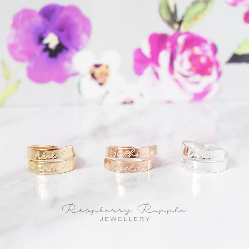 Yellow Gold Filled adjustable wrap around ring personalised twisted band hand stamped mum ladies womens gift present birthday kids names
