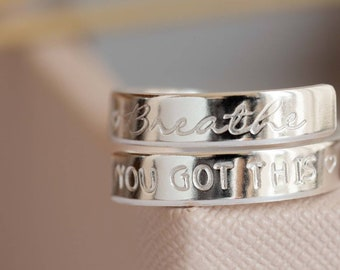 Breathe you got this Sterling Silver adjustable wrap around ring anxiety daily reminder ladies womens gift selfcare positive present
