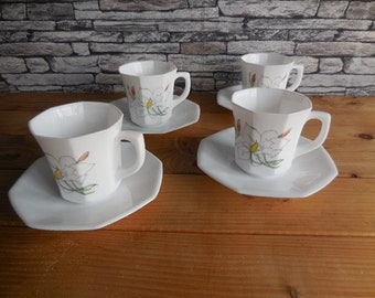 set 4 cups ramekins dessert cup ice80s black opaline ARCOPAL OCTIME series