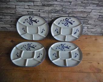 3 Mid Century Avocado Green wDark Green Trim Ceramic Divided Plates for Fondue Asian Motif